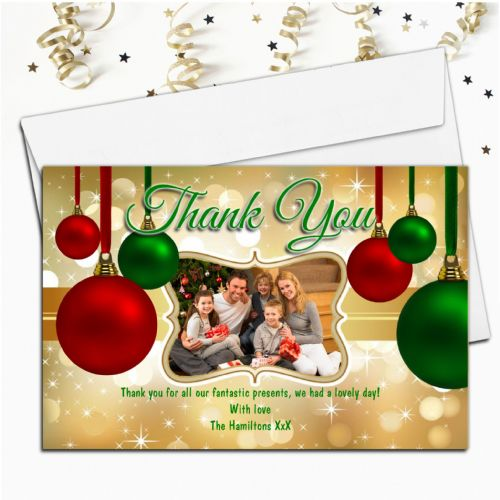 10 Personalised Christmas Xmas Thank you PHOTO Cards N39